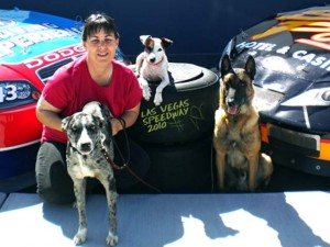 Brenda and Dogs at the Las Vegas Speedway in 2010